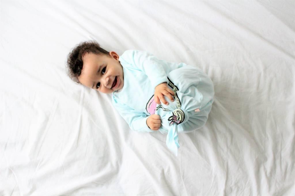 Electrik Kidz GEKNOOPTE SLAAPZAK EN TRAPPELZAKJE BABY BLUE FLAMINGO - ELECTRIK KIDZ