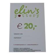 Elin's Pottery Cadeaubon Elin's Pottery € 20,-