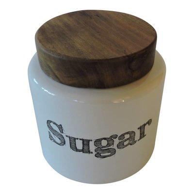 Suikerpot van aardewerk en hout