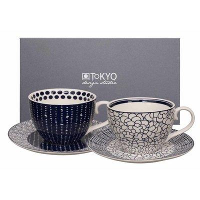 Tokyo Design bleu de'nîmes capp. mug+saucer 4pcs set pebble/web