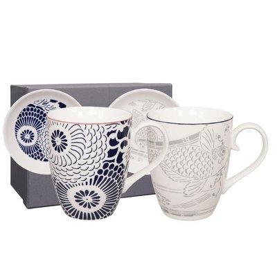 Tokyo Design shiki mug+tip set 4pcs blue peony d/blue-carp grey