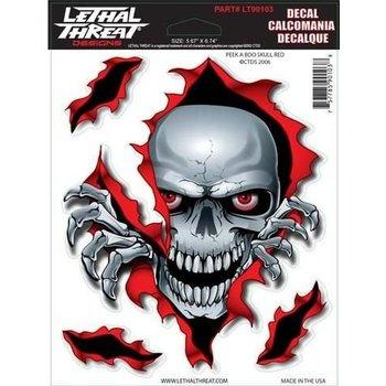 Lethal Threat Peek A Boo Skulll Red LT90103