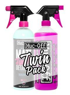 Muc-Off 1 Liter CLEANER & 750ML MATT FINISH DETAILER TWIN PACK + Gratis Sponge