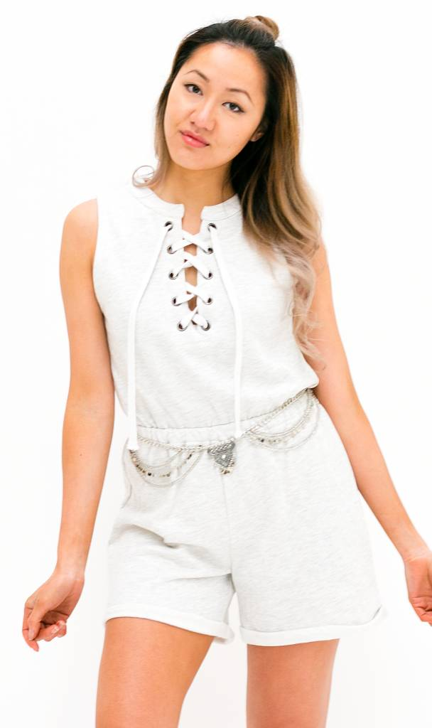 Grijze Lace Up Playsuit