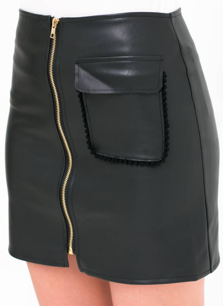 Leather Mini Skirt With Zipper