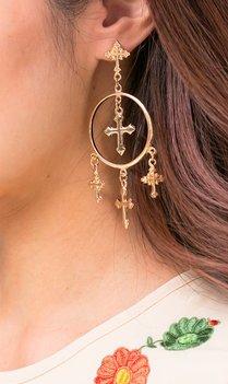 Gouden oorbellen met kruisjes