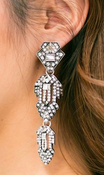 Statement Long Silver Earrings