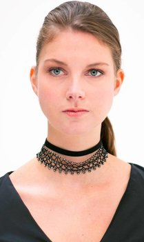 Black Crystal Choker Set