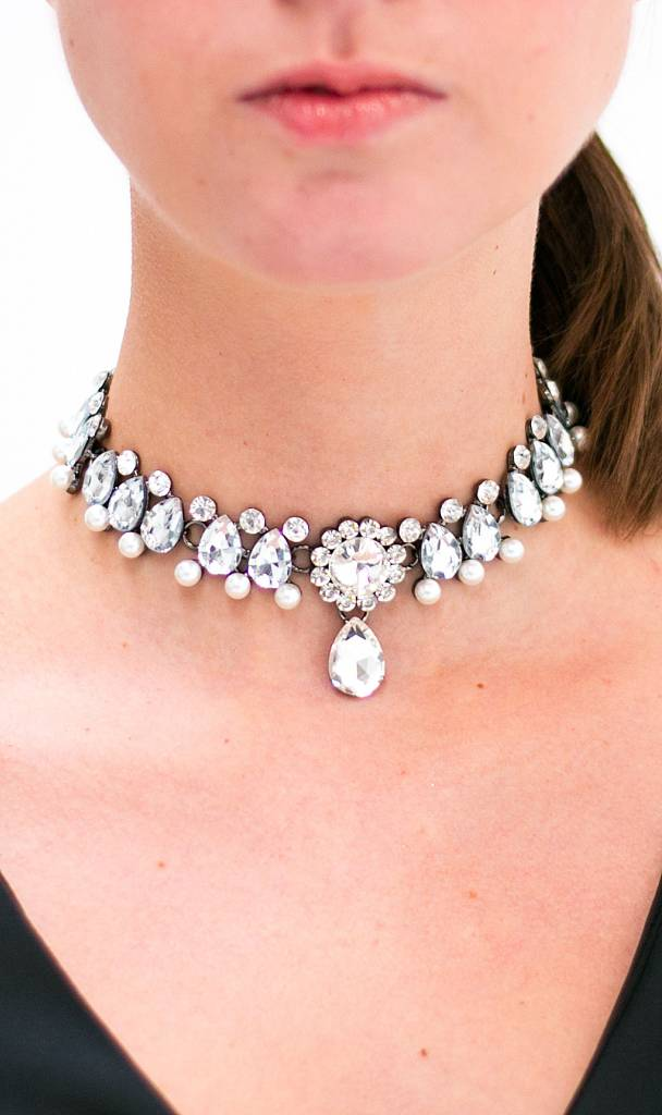 Crystal Pearls Statement Choker