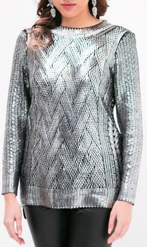 Silver Metallic Knit