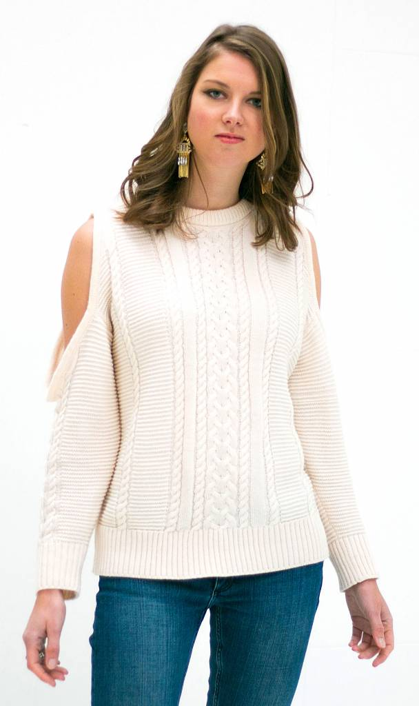 Witte Off shoulder Trui