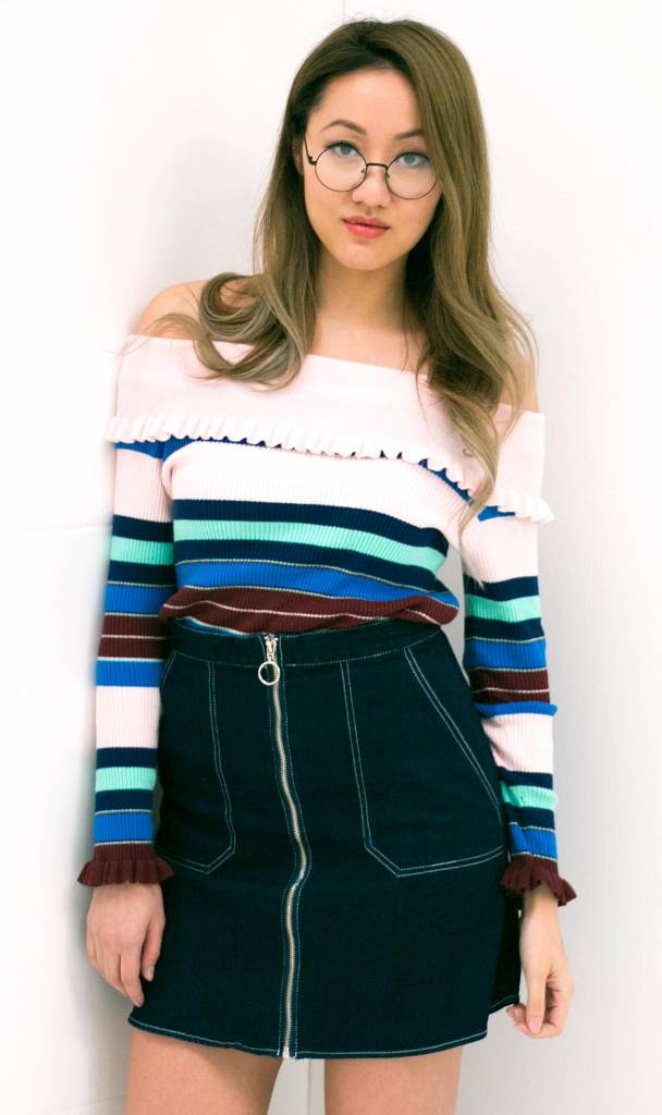 Off Shoulder Striped Ruffle Top