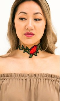 Choker Embroidery Roses