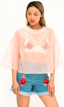 pink mesh t-shirt