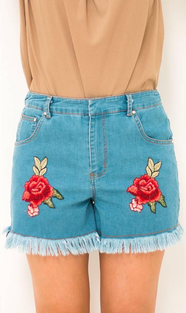 Denim Shorts met Borduursels