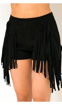Black suede tassel shorts