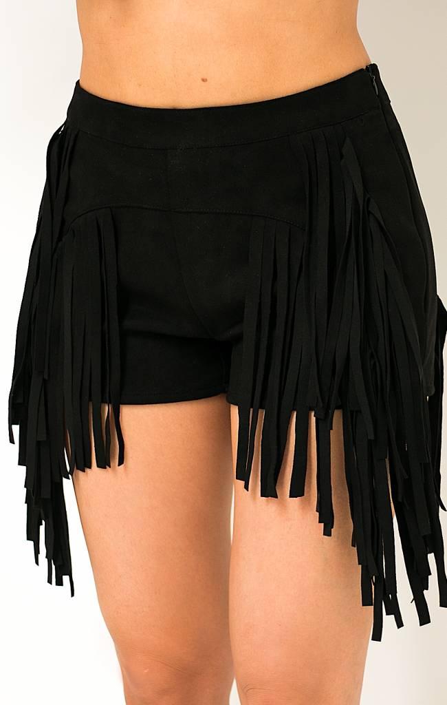 Zwarte Suede Shorts met Franjes
