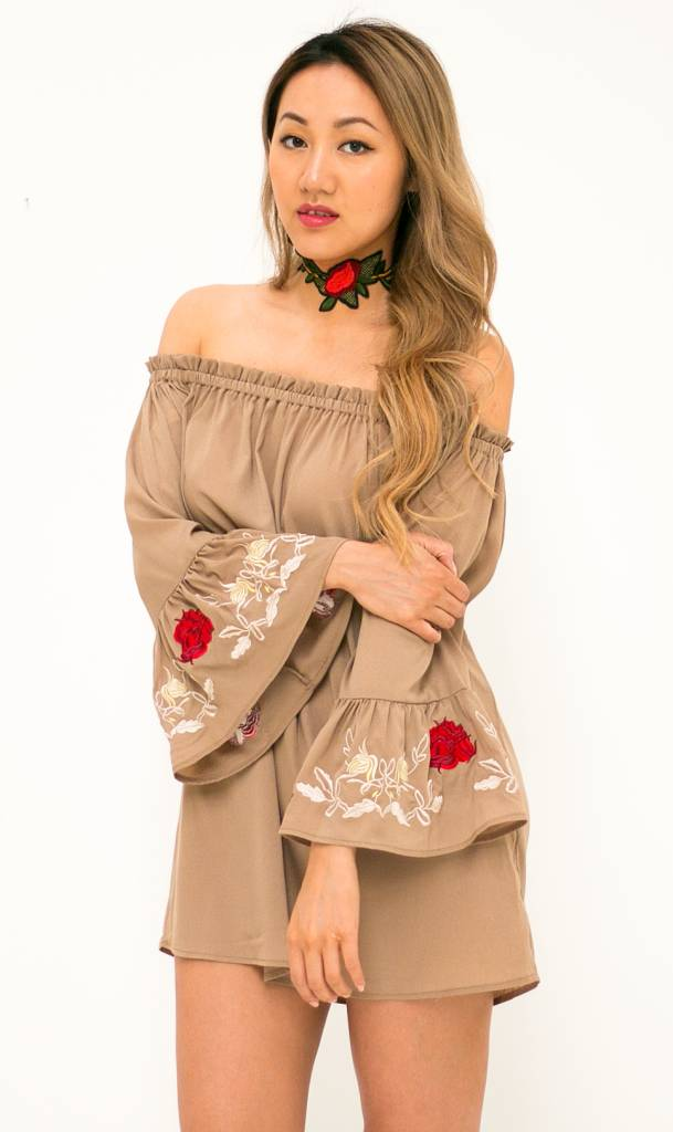 Off the Shoulder Embroidered khaki dress