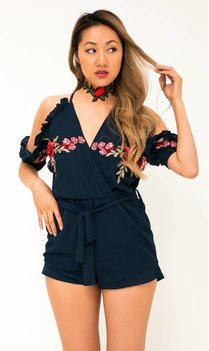 Navy blue embroidered playsuit