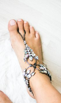Bohemian silver statement anklet