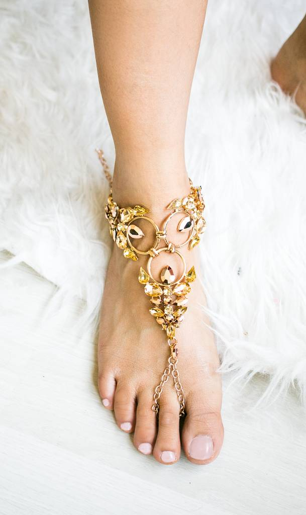 Bohemian golden statement anklet