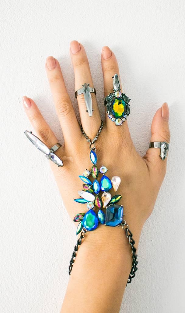 Ibiza blauwe handsieraad met ringen