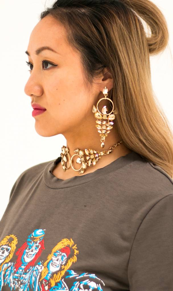 Bohemian golden statement earrings