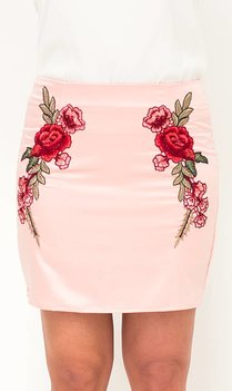 Embroidered Pink Satin Skirt
