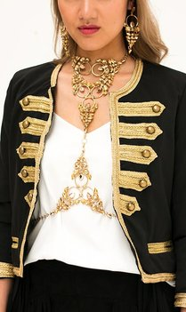 Bohemian golden statement bodychain