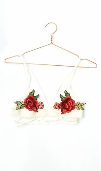 White floral embroidered bralet
