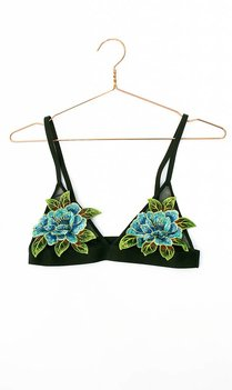 Black floral embroidered bralette
