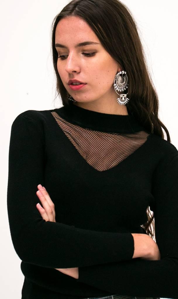 Black gauze knitted sweater