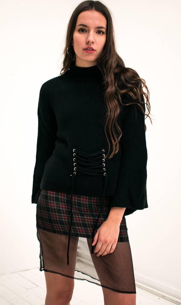 black lace up knit