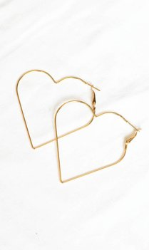 Heart shaped hoop earrings gold