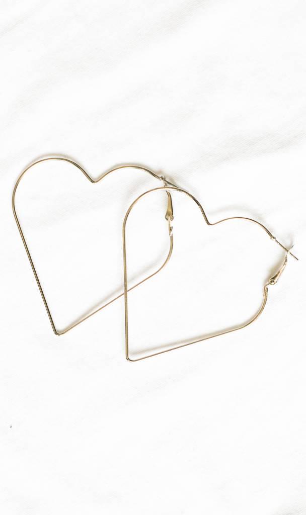 Heart shaped hoop earrings silver
