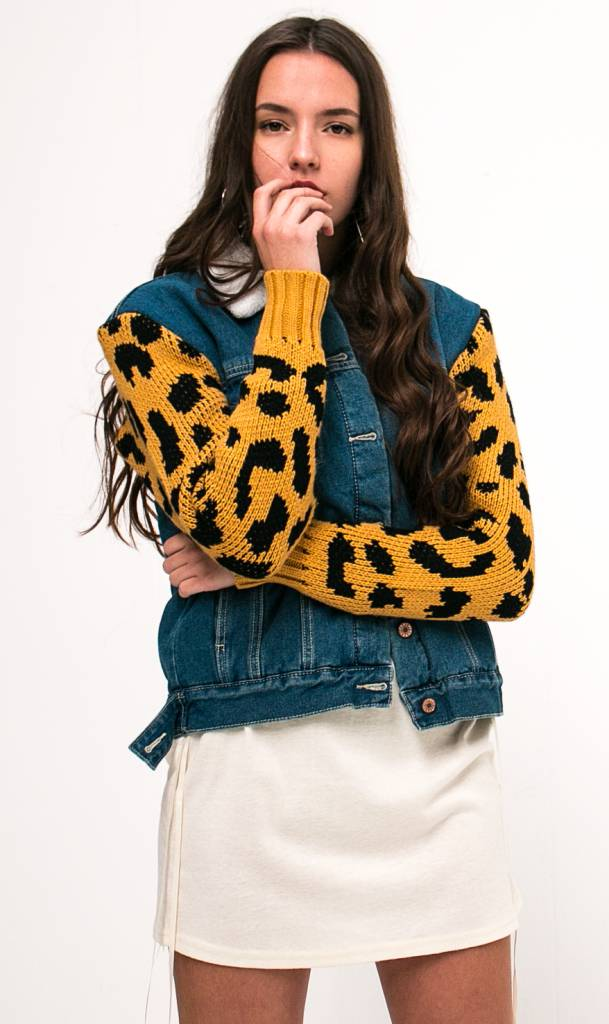 Leopard denim jacket teddy fleece