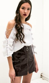 Off Shoulder Ruches Top (wit)