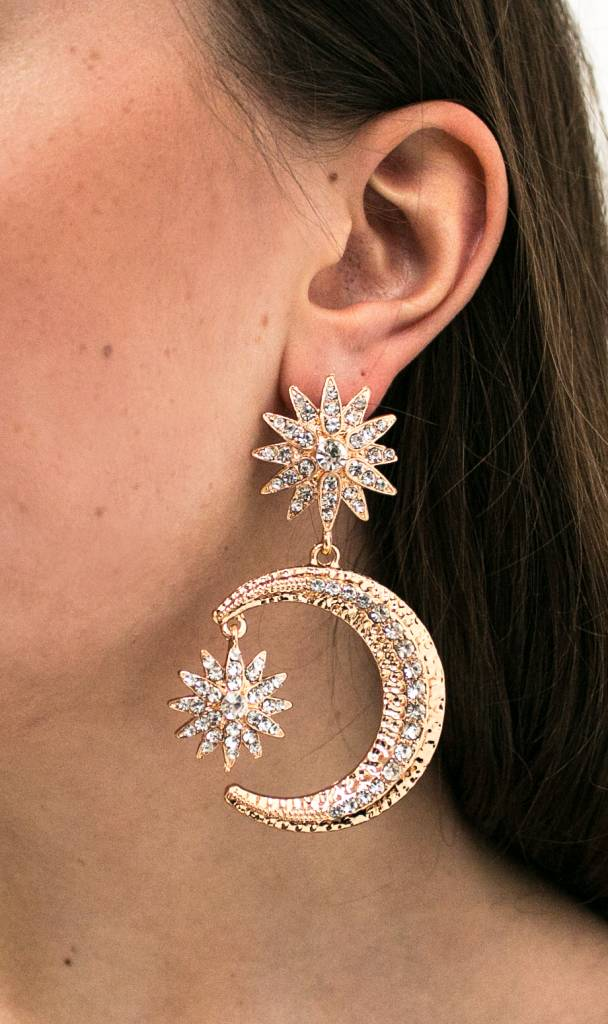Statement Golden Moon Earrings