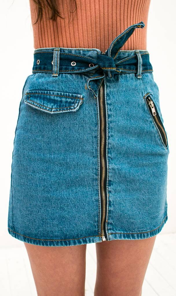 Denim Skirt With Zipper