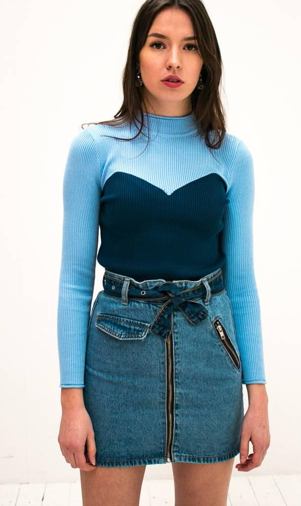 Contrast Top Blauw