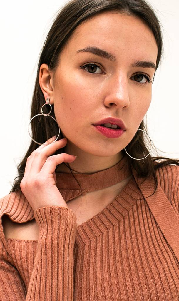 round silver earrings
