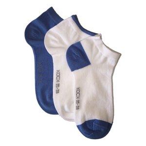 Kock Sockswear 3-pack naadloze sneakersokken dames blauw met wit