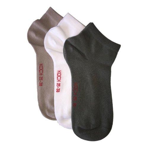 Kock Sockswear 3-pack naadloze sneakersokken dames zand/kaki/wit