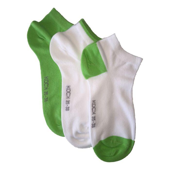 3-pack naadloze sneakersokken dames groen met wit