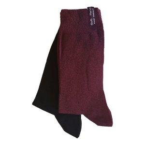 Kock Sockswear 2-pack naadloze damessokken bordeaux-zwart