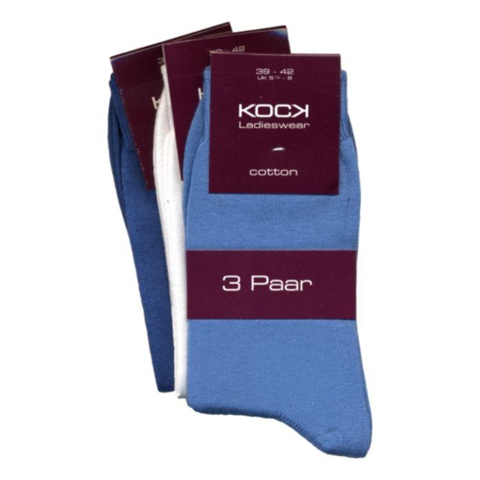 3-pack naadloze damessokken blauw