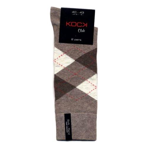 Kock Sockswear 2-pack naadloze herensokken argyle zand