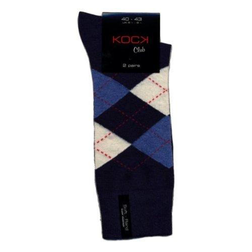 Kock Sockswear 2-pack naadloze herensokken argyle blauw