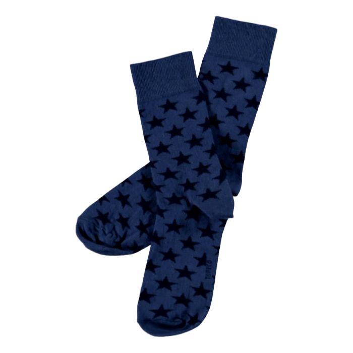 Sokken van Topeco in de kleur blauw met donkerblauwe sterren