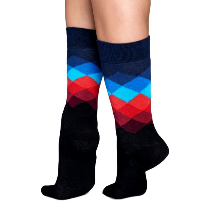 Faded Diamond sokken met zwart, blauw en rood
